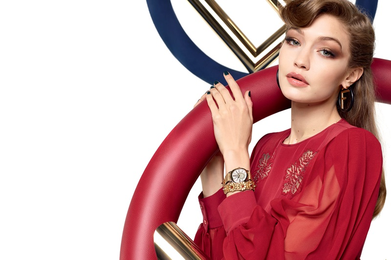 Gigi Hadid poses with a watch in Fendi's fall-winter 2017 campaign