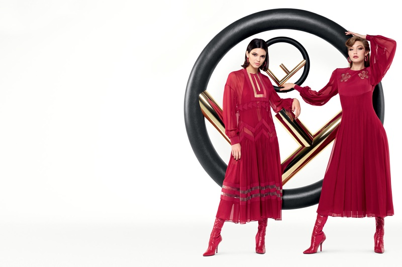 Kendall Jenner and Gigi Hadid appear in Fendi's fall-winter 2017 campaign