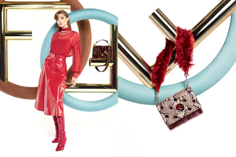 Model Gigi Hadid dazzles in red for Fendi's fall-winter 2017 campaign