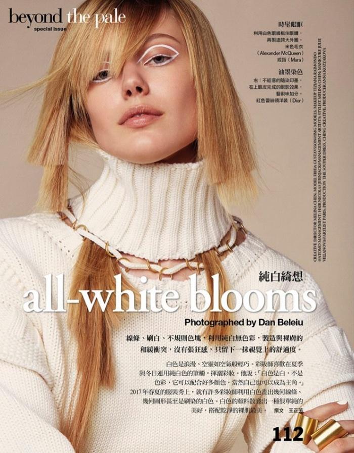 Frida Gustavsson Models Sleek Beauty Looks in Vogue Taiwan