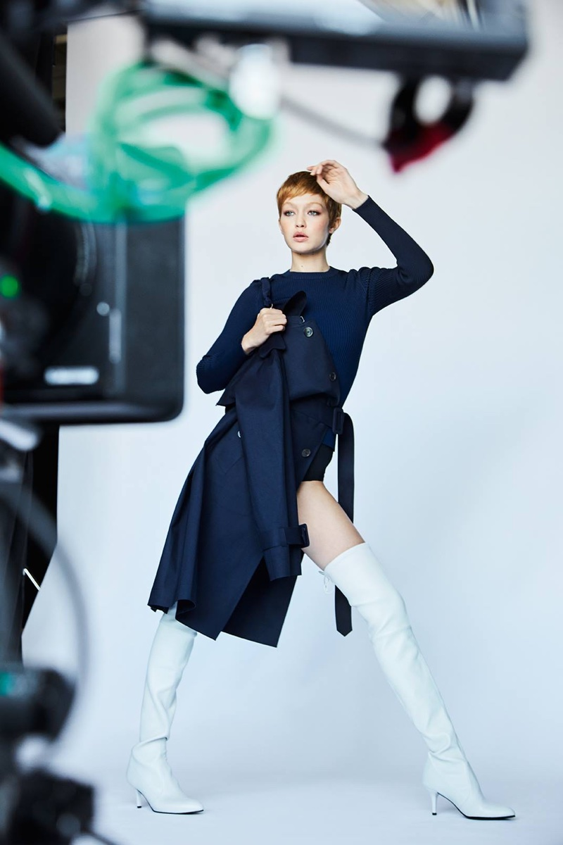 Gigi Hadid strikes a pose behind-the-scenes at Stuart Weitzman's fall-winter 2017 campaign