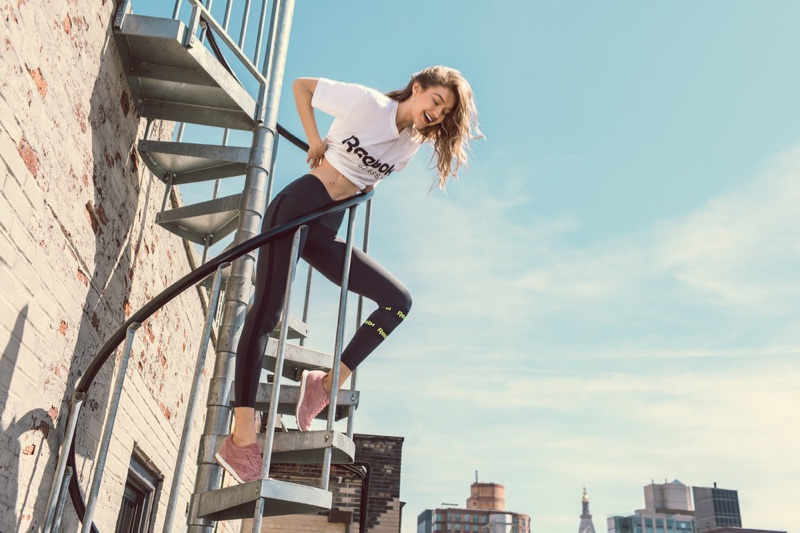 Gigi Hadid looks sporty chic in her latest Reebok Classic campaign