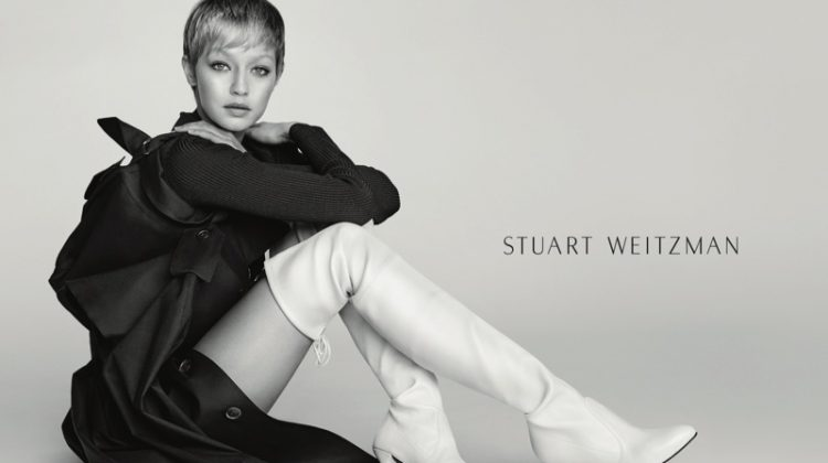 Model Gigi Hadid poses in Stuart Weitzman's Cling bootie