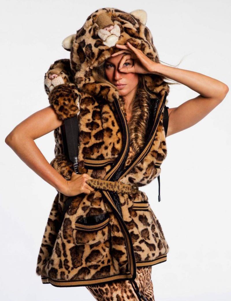 Gisele Bundchen Looks Ultra-Glam in Faux Fur for Vogue Paris