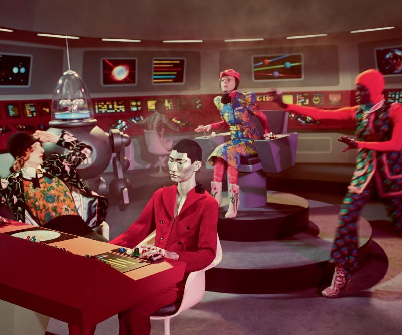 Models take their stations in Gucci's fall-winter 2017 campaign