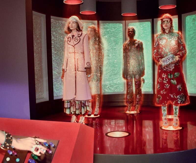 Models transport in Gucci's fall-winter 2017 campaign