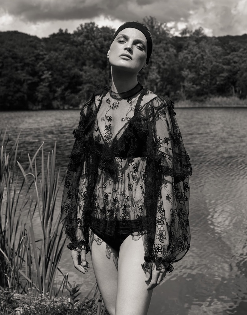 Guinevere van Seenus models Chloe embroidered blouse, Heidi Klein bikini top and Eres bikini bottoms