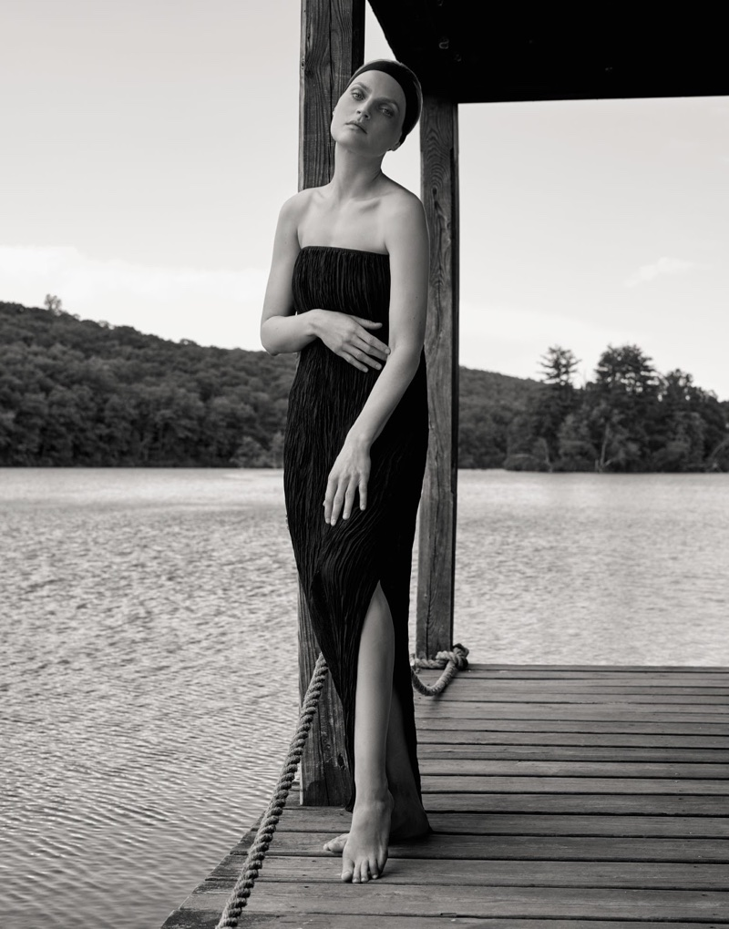 Striking a pose, Guinevere van Seenus wears Elizabeth and James dress