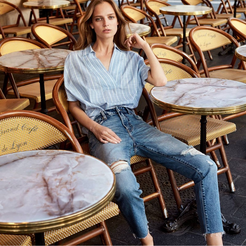 H&M Ruffle-Sleeved Cotton Blouse and Girlfriend Jeans