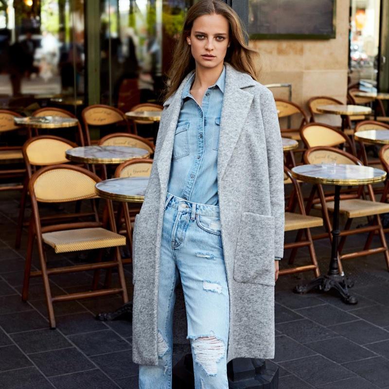 H&M Wool-Blend Coat, Denim Shirt and Girlfriend Jeans
