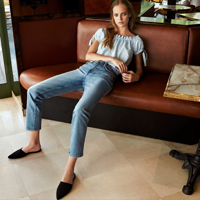 H&M Off-the-Shoulder Top, Straight High Waist Jeans and Mules