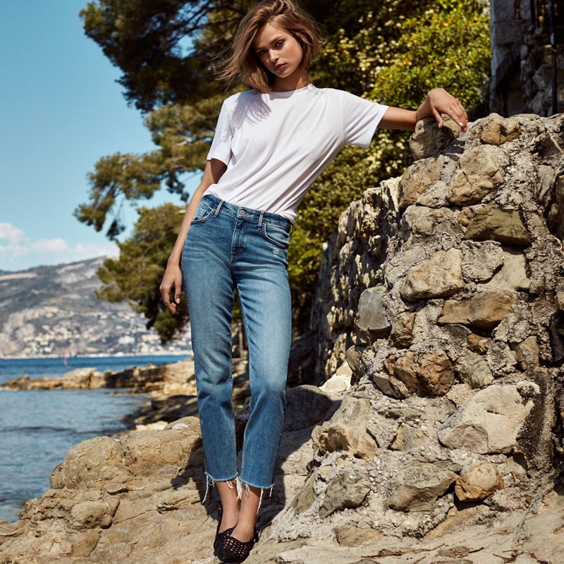 H&M Cotton T-Shirt, Straight High Ankle Jeans and Braided Slingbacks