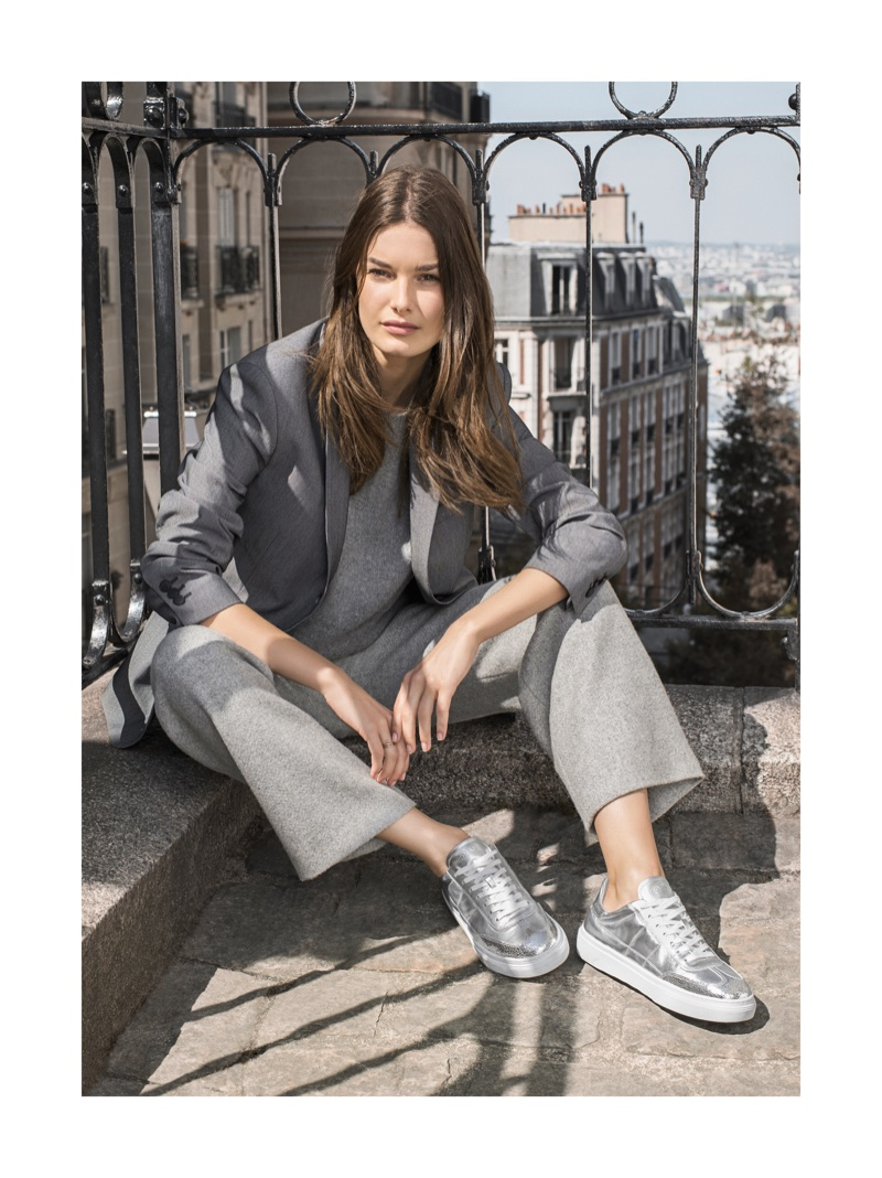 Ophelie Guillermand poses in Paris for Hogan's fall-winter 2017 campaign