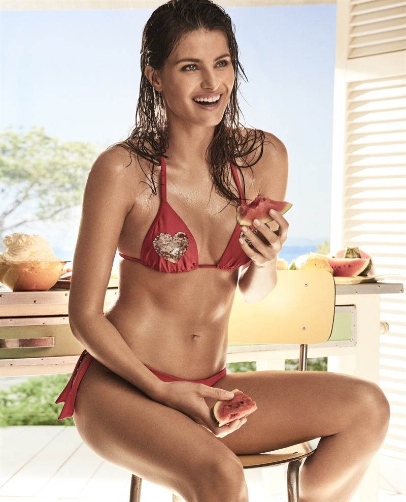Isabeli Fontana stars in Twinset's Coup de Coeur swimwear 2017 campaign