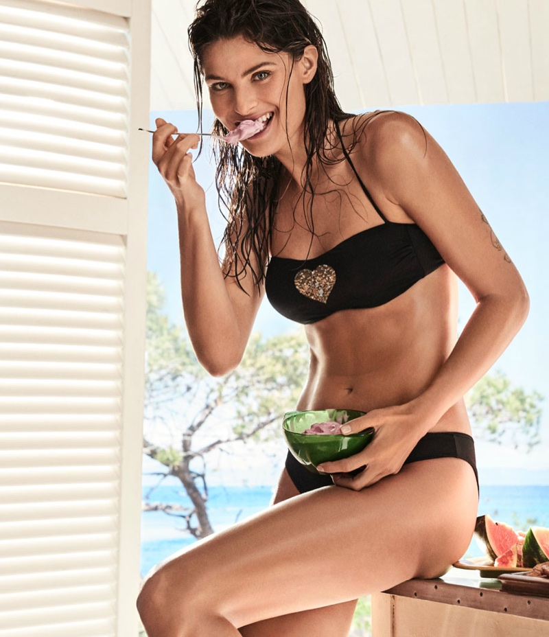 An image from Twinset's Coup de Coeur swimwear advertising campaign starring Isabeli Fontana