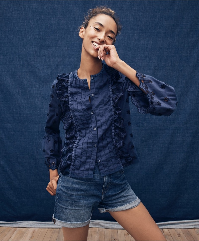 J. Crew Floral Eyelet Top and High-Rise Denim Short in Brixton Wash
