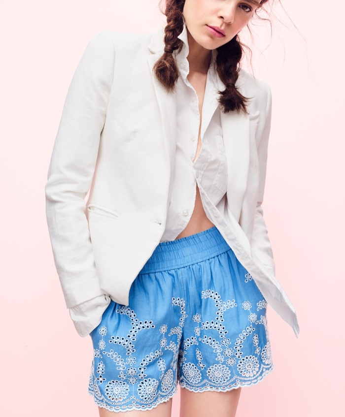 J. Crew Campbell Blazer in Linen, Slim Thomas Mason for J. Crew Shirt and Pull-On Short with Floral Embroidery