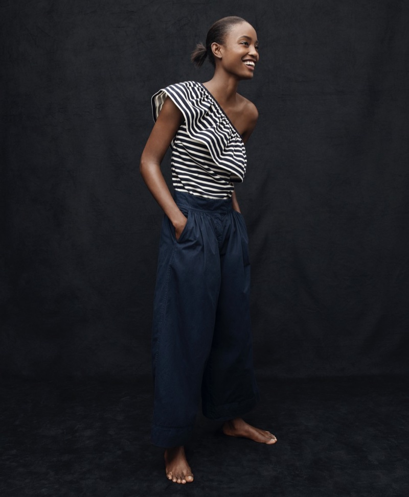 J. Crew One-Shoulder Top in Stripes and J. Crew Collection Wide-Leg Cropped Pant in Italian Chino