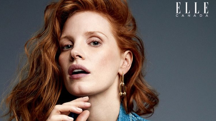 Actress Jessica Chastain poses in denim