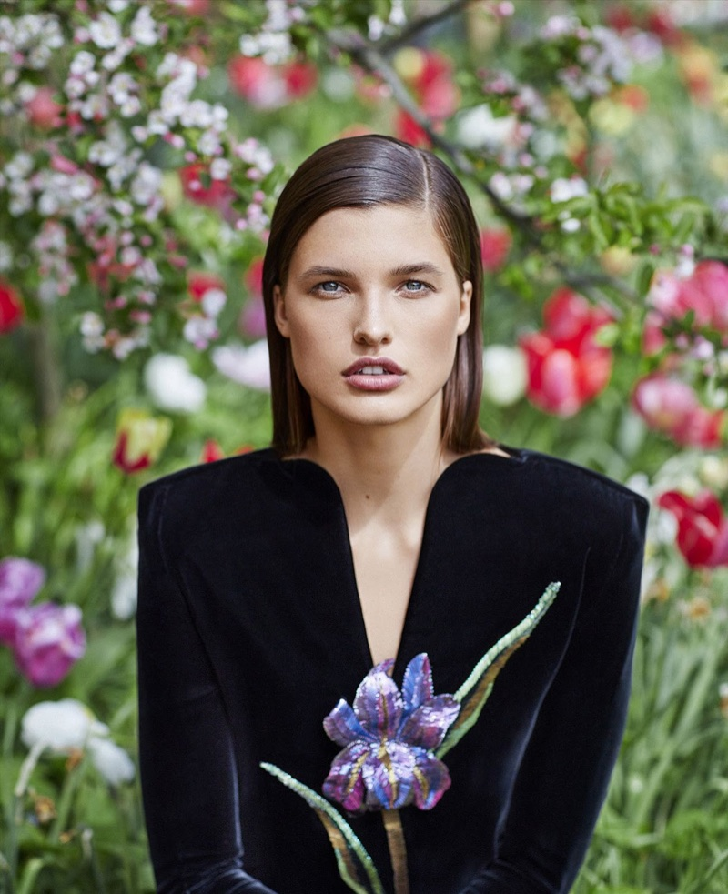 ceee24e0a85 Julia Van Os is in Full Bloom in Floral Fashions for Harper s Bazaar