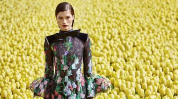 Julia Van Os is in Full Bloom in Floral Fashions for Harper's Bazaar