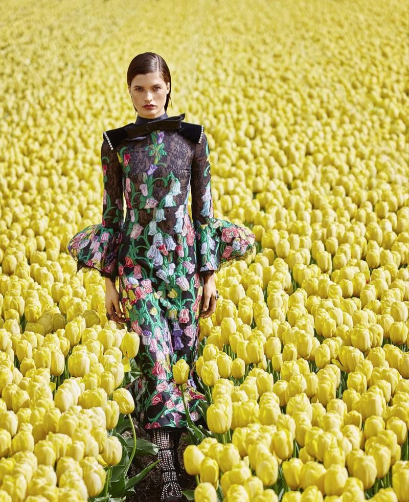 Julia Van Os is in Full Bloom in Floral Fashions for Harper's Bazaar