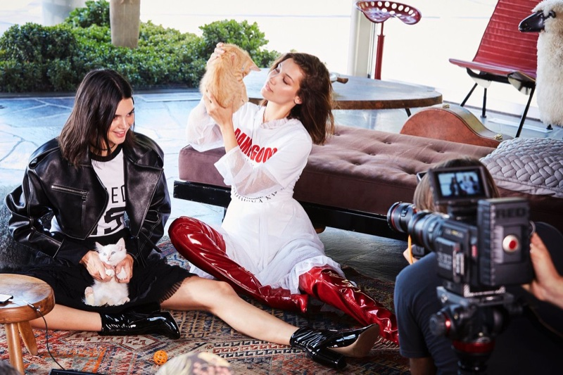 Models Bella Hadid and Kendall Jenner behind the scenes on Ochirly campaign