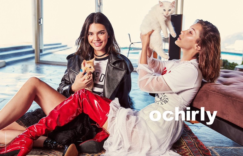 Posing with cats, Bella Hadid and Kendall Jenner front Ochirly's fall 2017 campaign