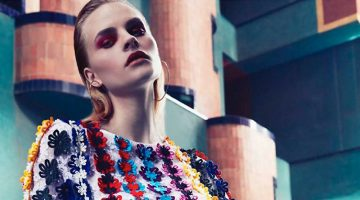Kristina Petrosiute Models Chic Florals in L'Officiel Middle East