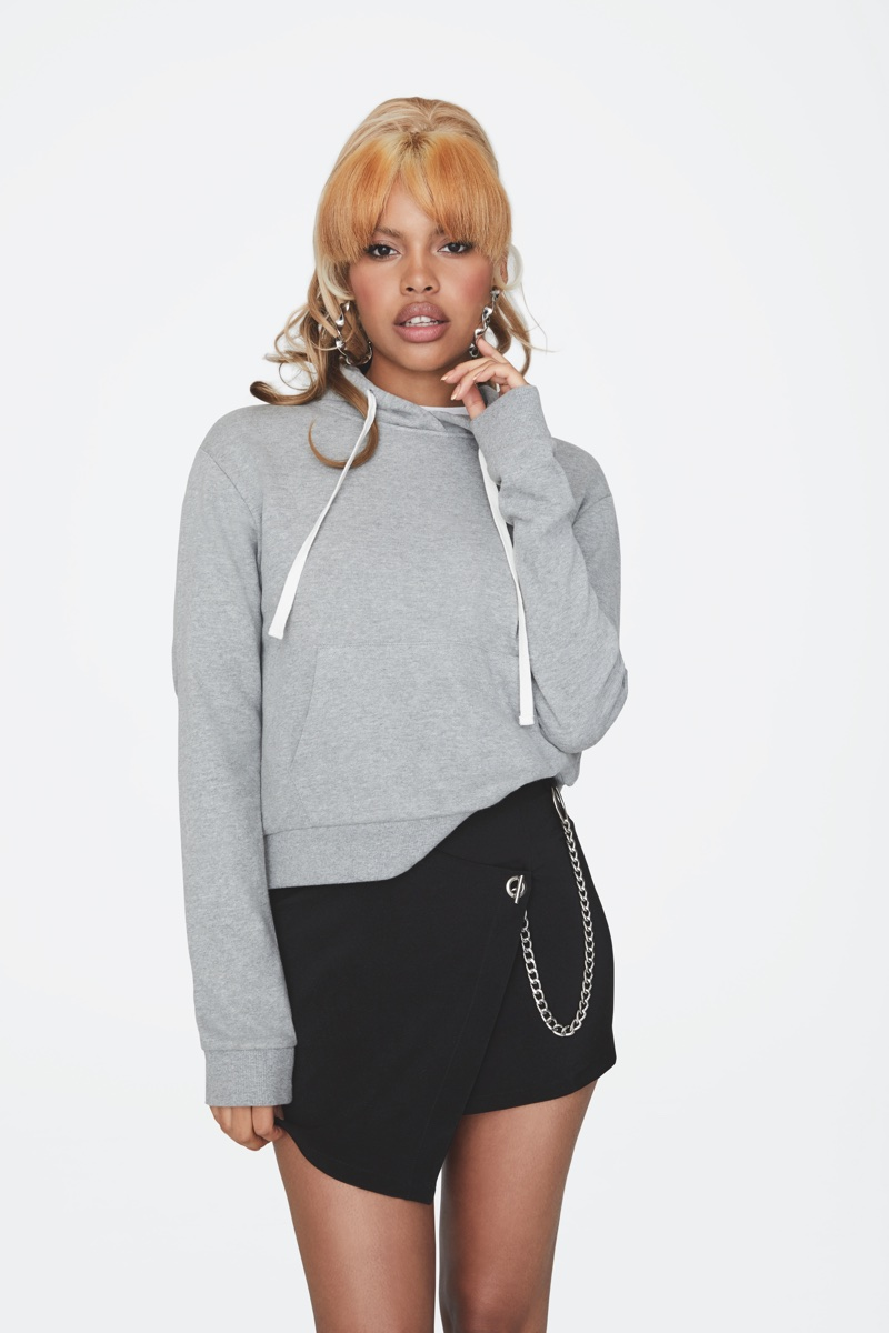 Leaf wears grey hoodie in Forever 21's pre-fall 2017 campaign