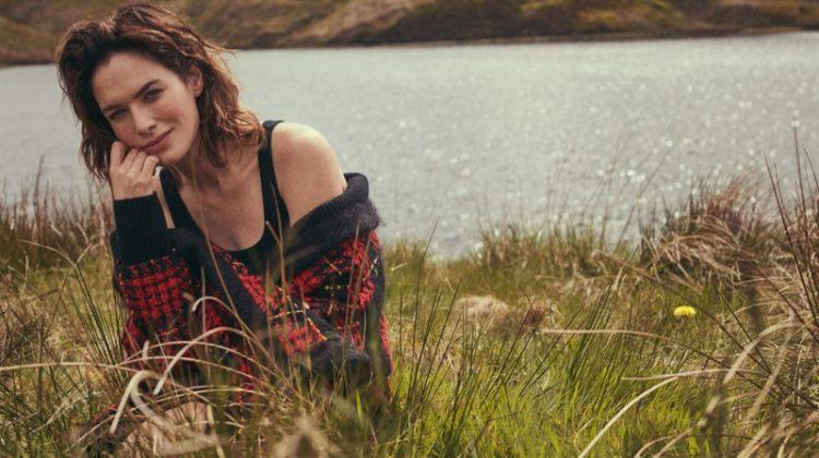 Lena Headey poses in Balmain cardigan, James Perse tank top and Catbird ring