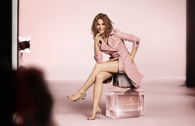 Actress Lily James poses behind the scenes at My Burberry Blush campaign