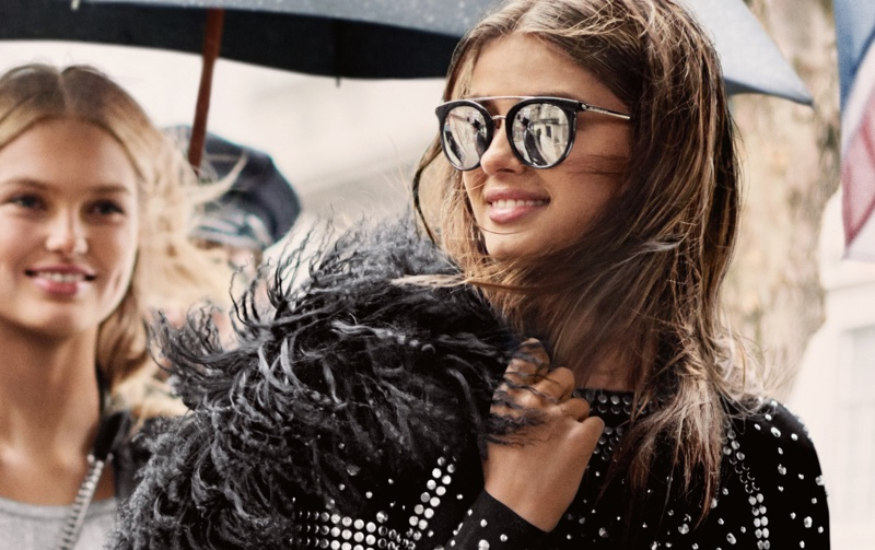 Sporting sunglasses, Taylor Hill fronts MICHAEL Michael Kors fall 2017 campaign