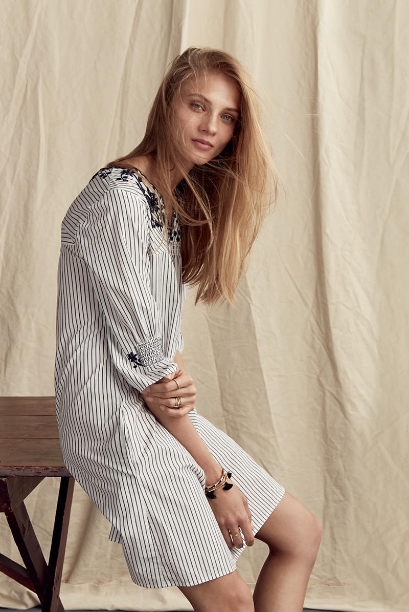 Madewell Embroidered Breeze Dress in Stripe
