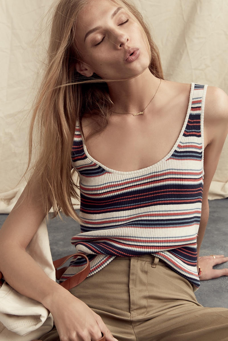Madewell Ribbed Sweater-Tank in Stripe and Langford Wide-Leg Crop Pants in Light Latte