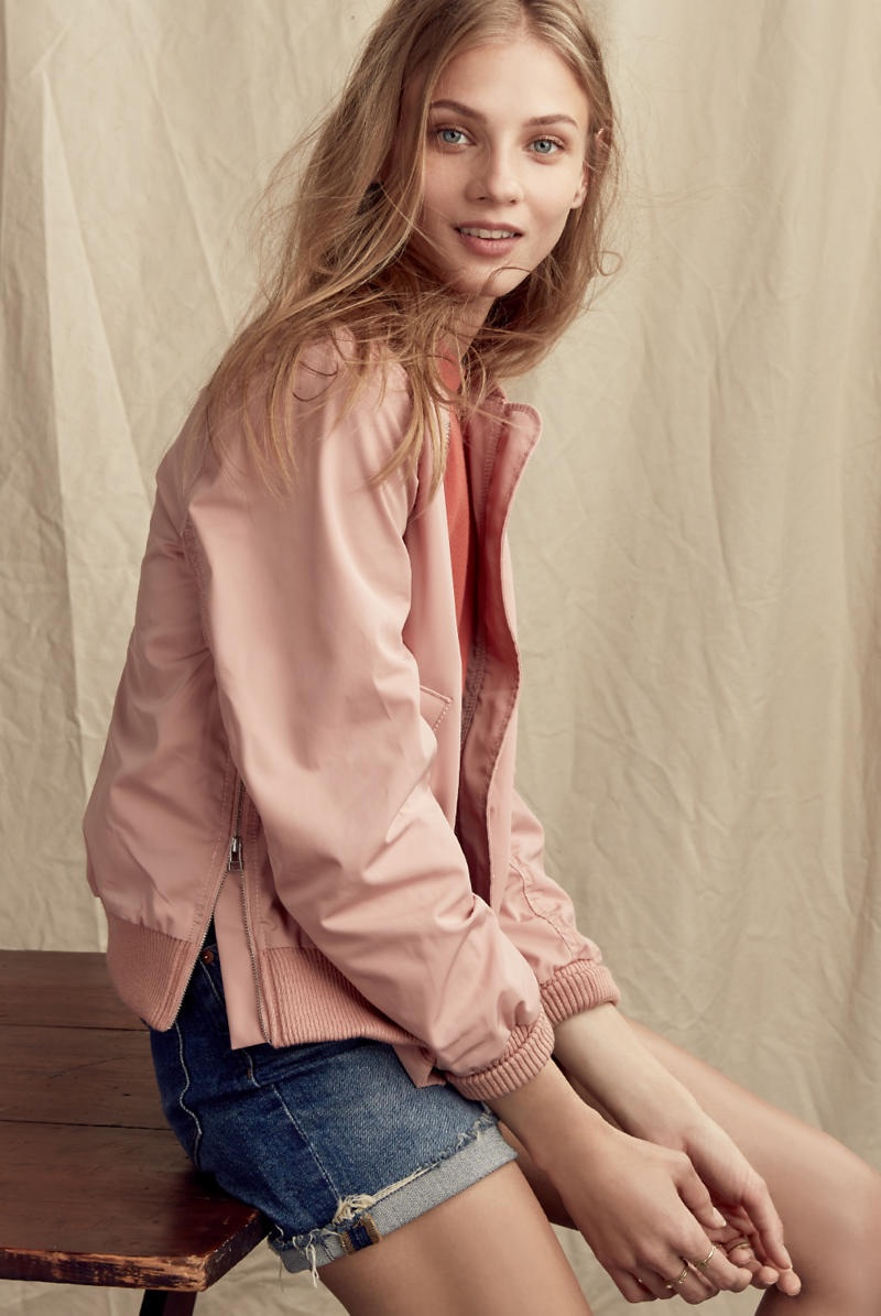 Madewell Side-Zip Bomber Jacket in Old Rose