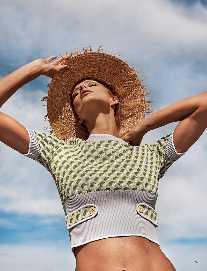 Michaela Kocianova Models Chic Beach Fashions for Harper's Bazaar Kazakhstan