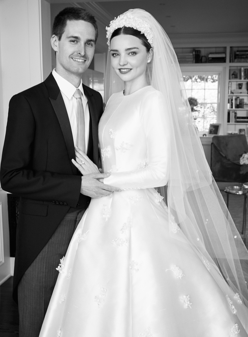 Newlyweds Miranda Kerr and Evan Spiegel pose for Vogue magazine