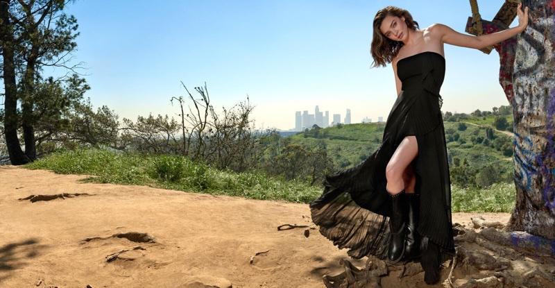 Posing in Los Angeles, Miranda Kerr wears black dress in Marella's fall-winter 2017 campaign