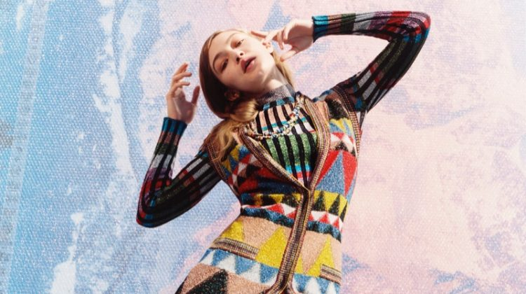 Gigi Hadid models colorful knitwear for Missoni's fall-winter 2017 campaign