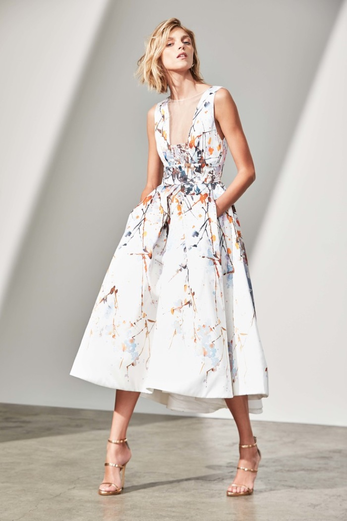 90b1a447233 Lookbook  Neiman Marcus Designer Pre-Fall 2017 Collections by Caroline  Knopf. Monique Lhuillier Watercolor Mikado Sleeveless Tea-Length Gown