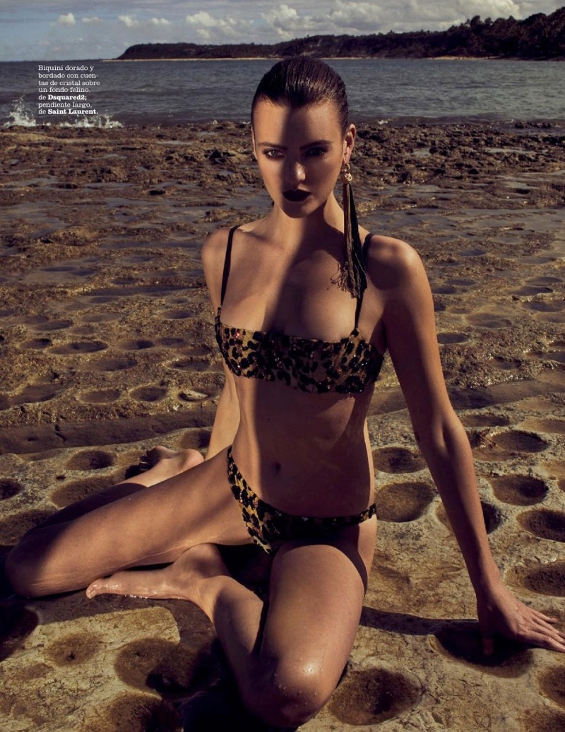 Montana Cox Poses in Luxe Beach Fashions for Marie Claire Spain