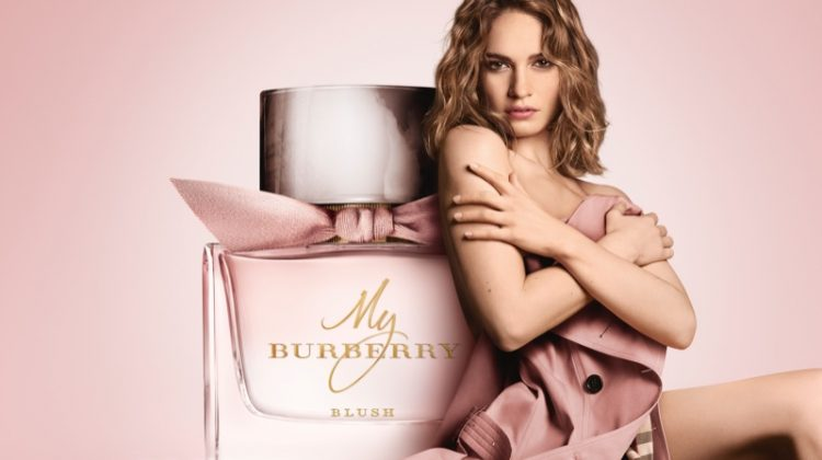 Lily James Looks Pretty in Pink for 'My Burberry Blush' Fragrance Ad
