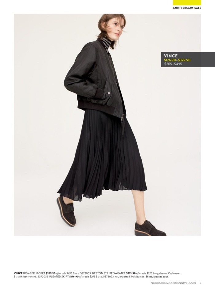 Vince Bomber Jacket $329.90 (on sale), Breton Stripe Sweater $213.90 (on sale), Pleated Skirt $176.90 (on sale) and Platform Oxford $214.90 (on sale)
