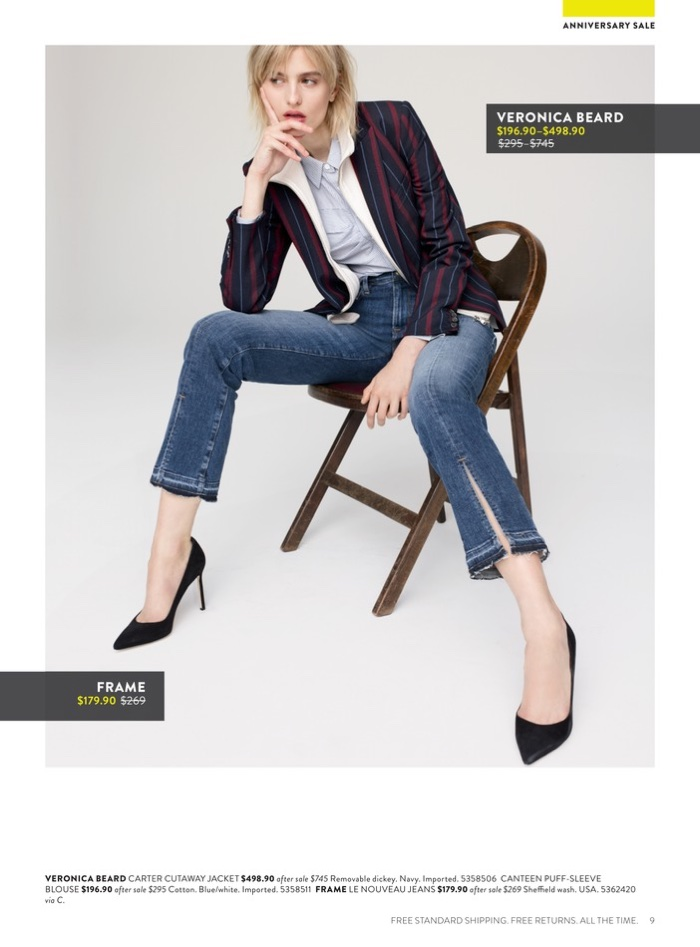 Veronica Beard Carter Cutaway Jacket $498.90 (on sale) and Canteen Puff-Sleeve Blouse $196.90 (on sale). FRAME Le Nouveau Jeans $179.90 (on sale).