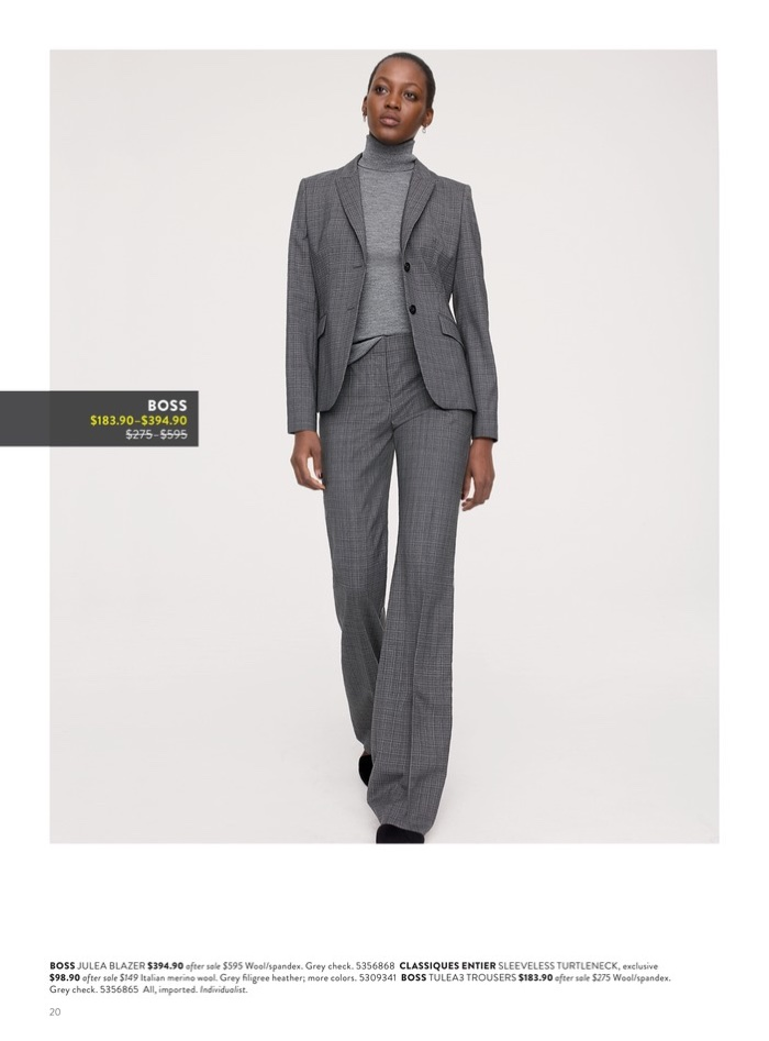 BOSS Julea Blazer $394.90 (on sale) and Tulea Plaid Wool Trousers ($183.90 (on sale). Classiques Entier Sleeveless Turtleneck Sweater $98.90 (on sale).