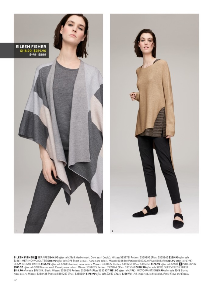 (Left) Eileen Fisher Serape $244.90 (on sale), Merino Wool Tee $118.90 (on sale) and Seam-Detail Pants $165.90 (on sale). (Right) Eileen Fisher Pullover $185.90 (on sale), Sleeveless Shell $118.90 (on sale) and Moto Pants $165.90 (on sale)
