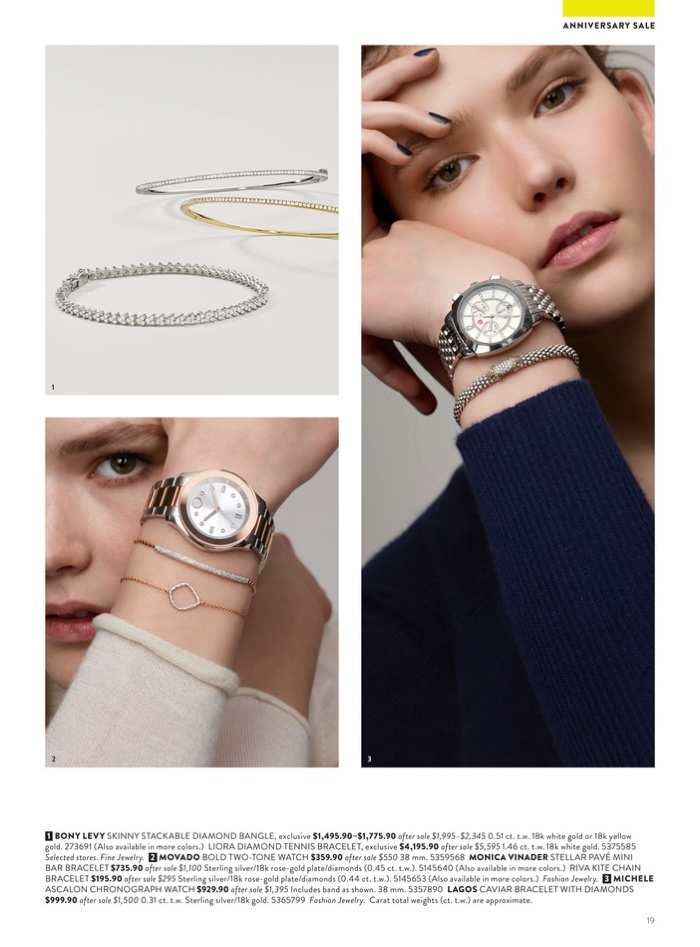 1. Bony Levy Skinny Stackable Diamond Bangle $1,495.90-$1,775.90 (on sale) and Liora Diamond Tennis Bracelet $4,195.90 (on sale). 2. Movado Bold Two-Tone Watch $359.90 (on sale) and Monica Vinader Stellar Pave Mini Bracelet $195.90 (on sale) 3. Michele Asacalon Chronograph Watch $929.90 (on sale) and Lagos Caviar Bracelet with Diamonds $999.90 (on sale)