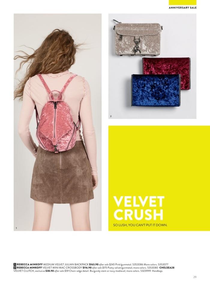 1. Rebecca Minkoff Medium Velvet Julian Backpack $165.90 (on sale) 2. Rebecca Minkoff Velvet Mini Mac Crossbody $116.90 (on sale) and Chelsea28 Velvet Clutch $38.90 (on sale)