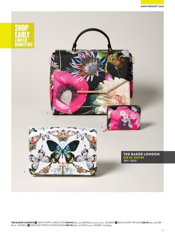 1. Ted Baker London Neon Poppy Large Tote $149.90 (on sale) 2. Ted Baker London Neon Poppy Zip Mini $58.90 (on sale) 3. Ted Baker London Strisa Butterfly Evening Bag $85.90 (on sale)